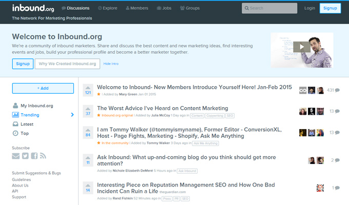 inbound marketing tool social news community