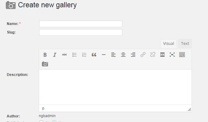 create new gallery settings