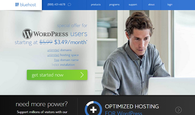 bluehost wordpress hosting deal page