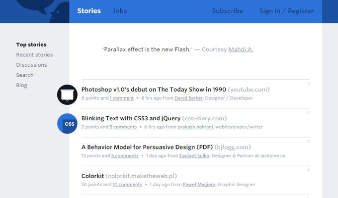 designer news website homepage layout