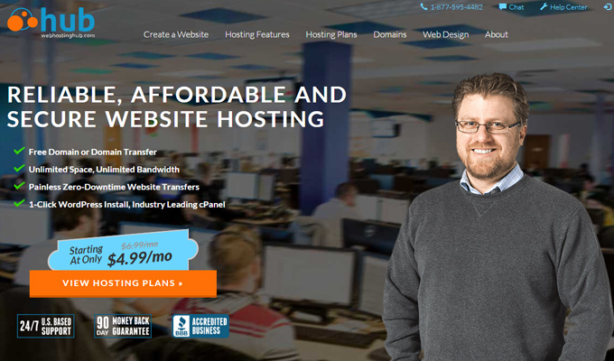 web hosting hub screenshot homepage