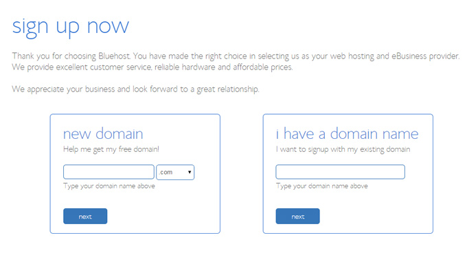 select wordpress domain bluehost register