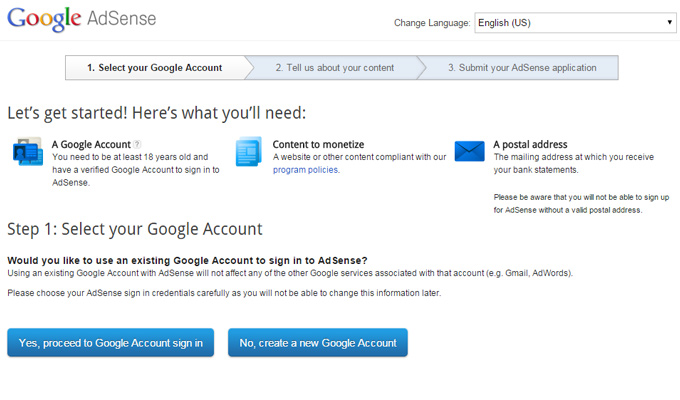 google adsense signup blogs advertising network