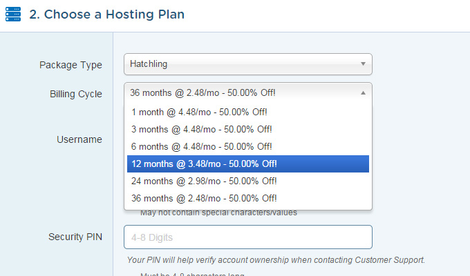 hostgator hosting plan choose dropdown