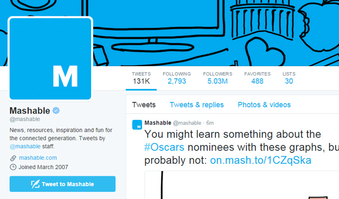 mashable official twitter page profile