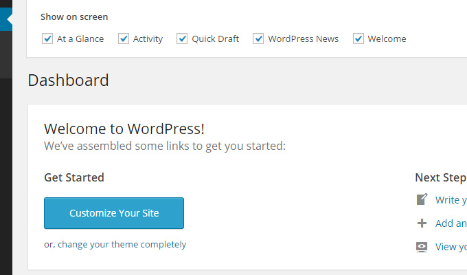 screen options tab slidedown wordpress dashboard