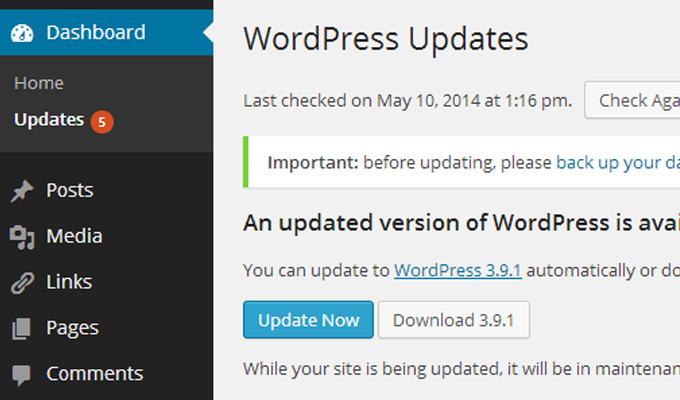 wordpress dashboard updates live link