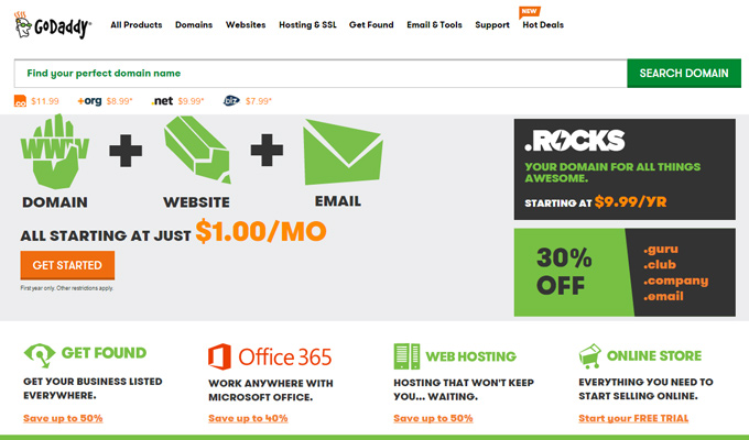 godaddy domain registration lists screenshot