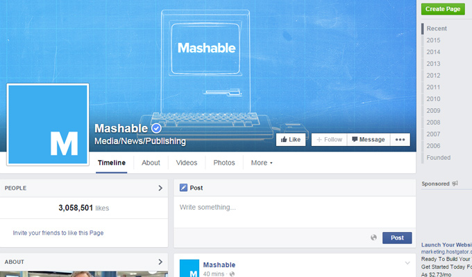mashable official facebook page