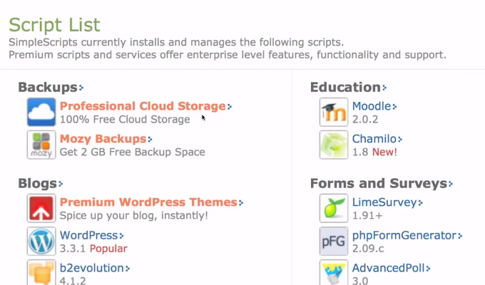 scripts install details wordpress bluehost screen
