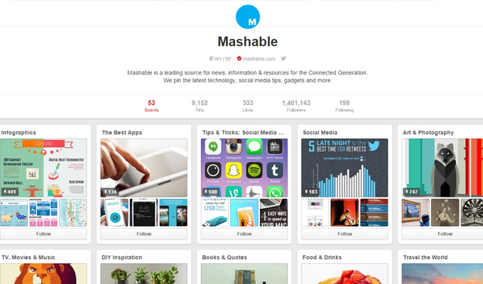 mashable pinterest social boards