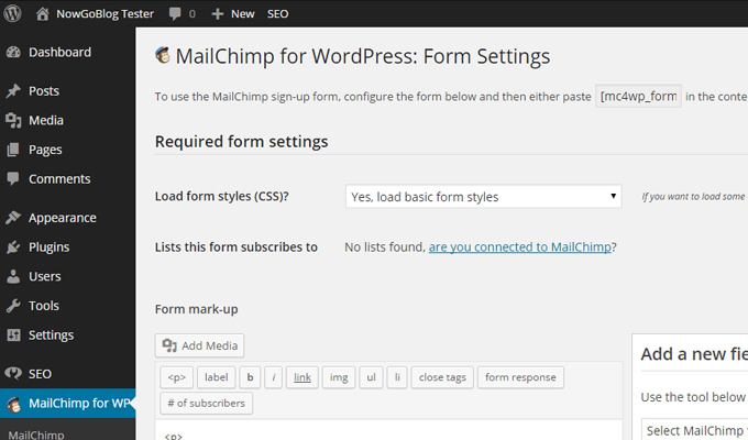 mailchimp settings creation plugin email newsletter