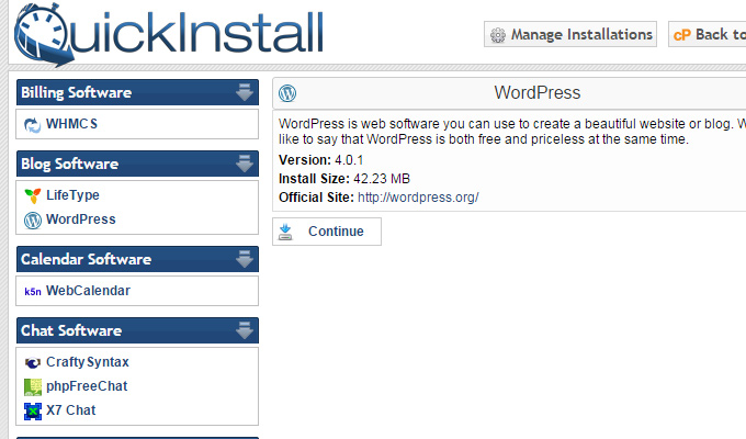 wordpress quick install menu icons links
