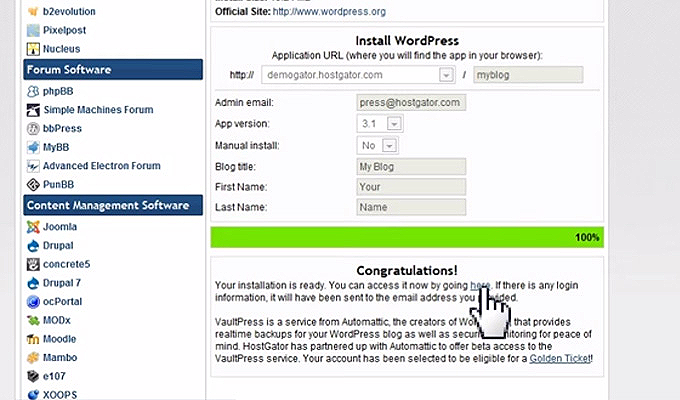 finished wordpress installation hostgator quickinstall
