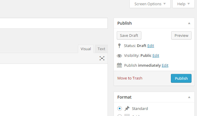 publish new post editor menu