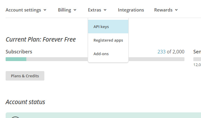 mailchimp account api key menu settings