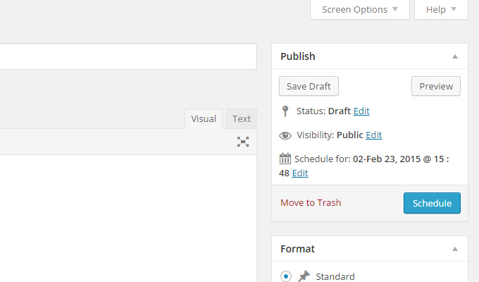 schedule a new post screen wordpress