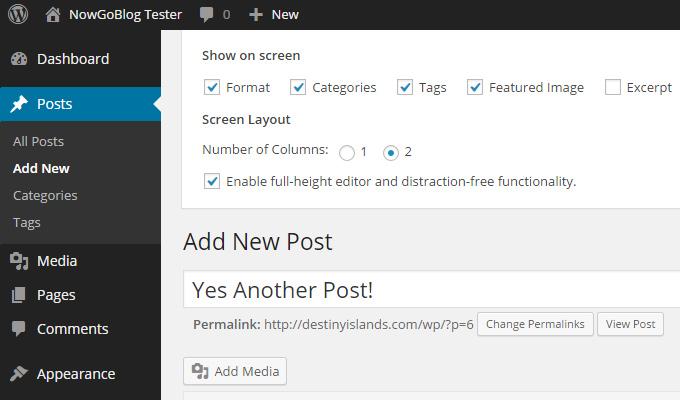 wordpress editor screen options slidedown