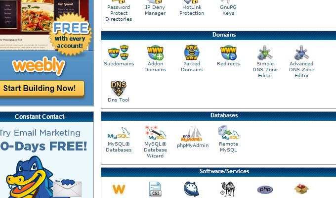 hostgator cpanel setup databases howto