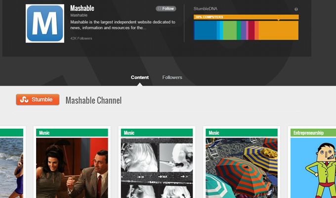 mashable profile page stumbleupon