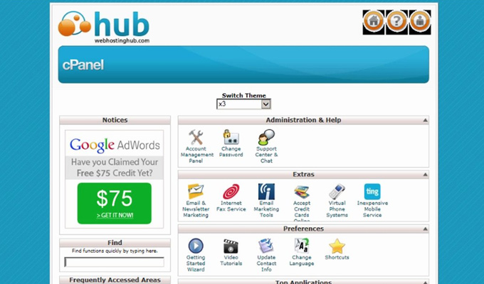cpanel screenshot web hosting hub