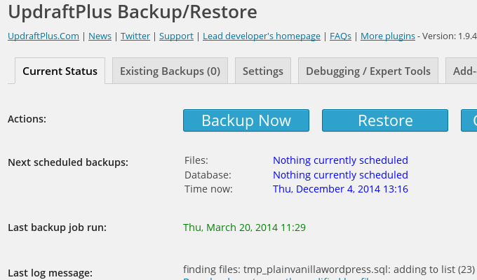 updraft plus wordpress backup plugin