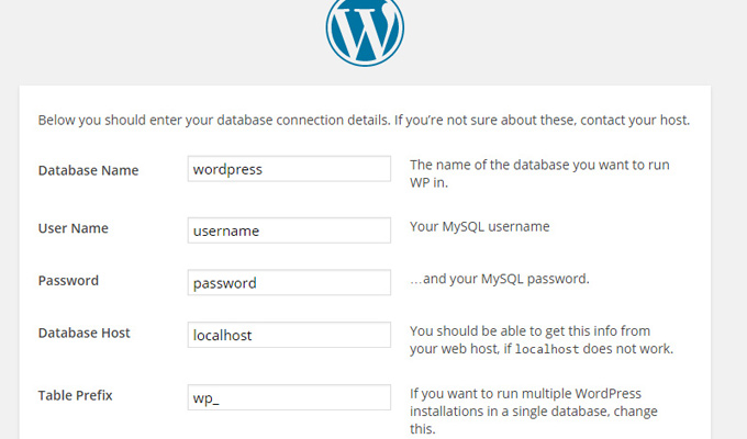 install wordpress database settings setup