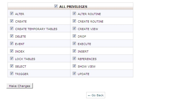 privileges database setup cpanel page
