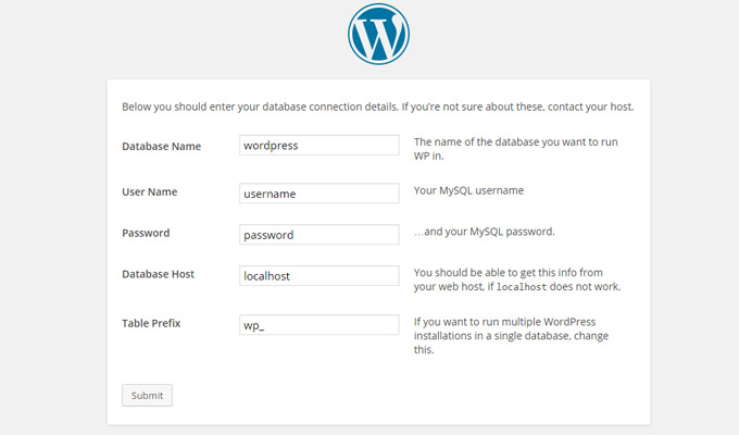 wordpress install database info page