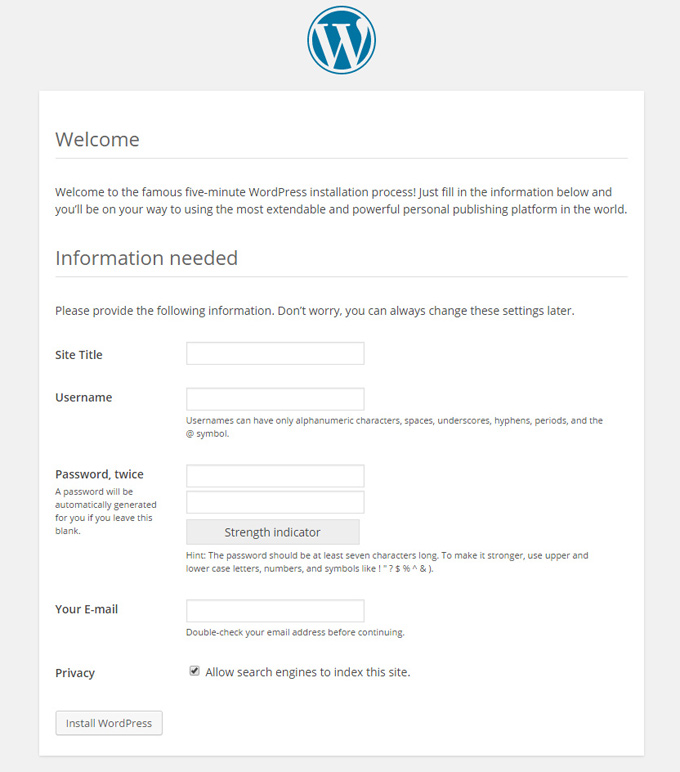 full wordpress setup page info username