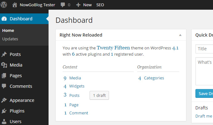 wordpress right now dashboard reloaded