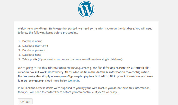 wordpress database setup message info