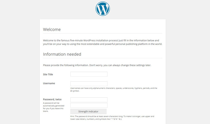 wordpress final setup website details config