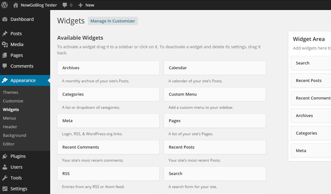 wordpress dashboard widgets screen