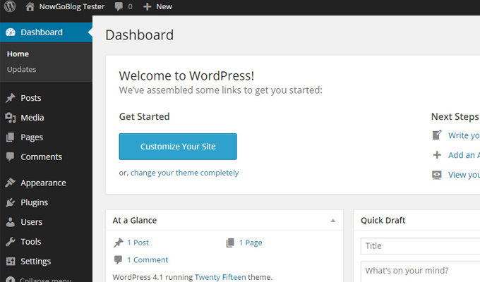 wordpress final setup dashboard first peek screenshot