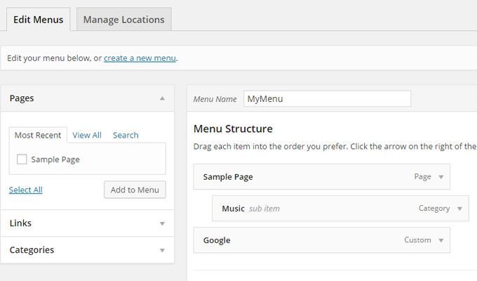 wordpress add menu custom dashboard screen