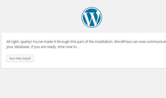 wordpress database success message install