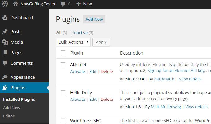 wordpress dashboard plugins list screen