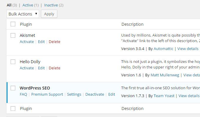 wordpress plugins screen activate menu