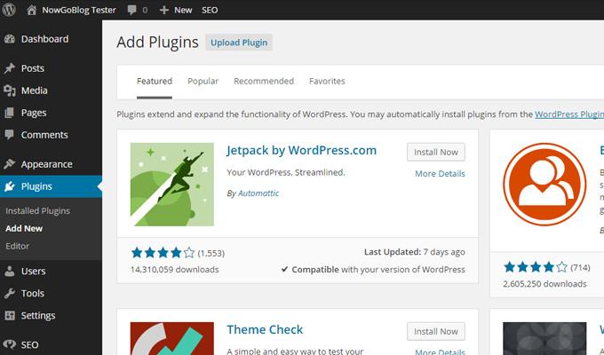 add wordpress new plugin dashboard screen