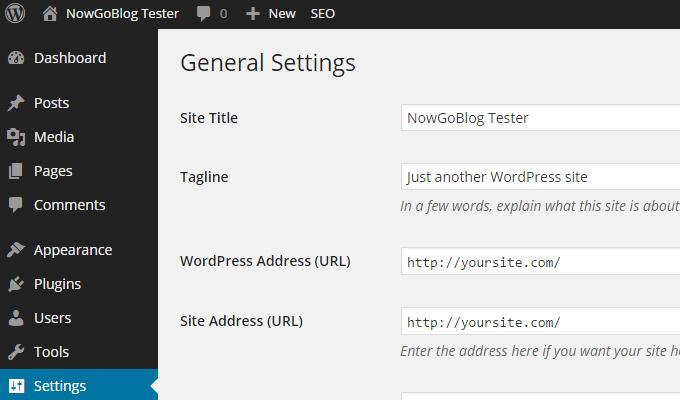 general settings dashboard menu