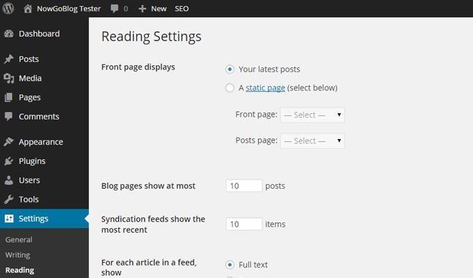 wordpress settings reading menu config