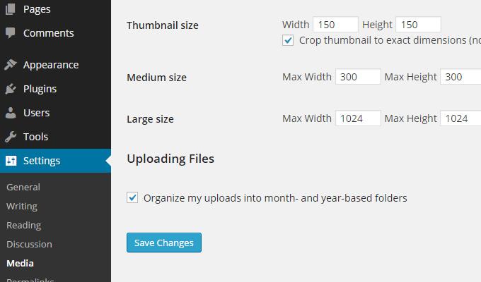 wordpress settings panel media uploads info