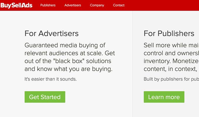 buysellads network homepage